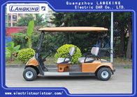 Golden Color Electric Four Passenger Golf Cart With 48V Battery For Sightseeing CE Approved